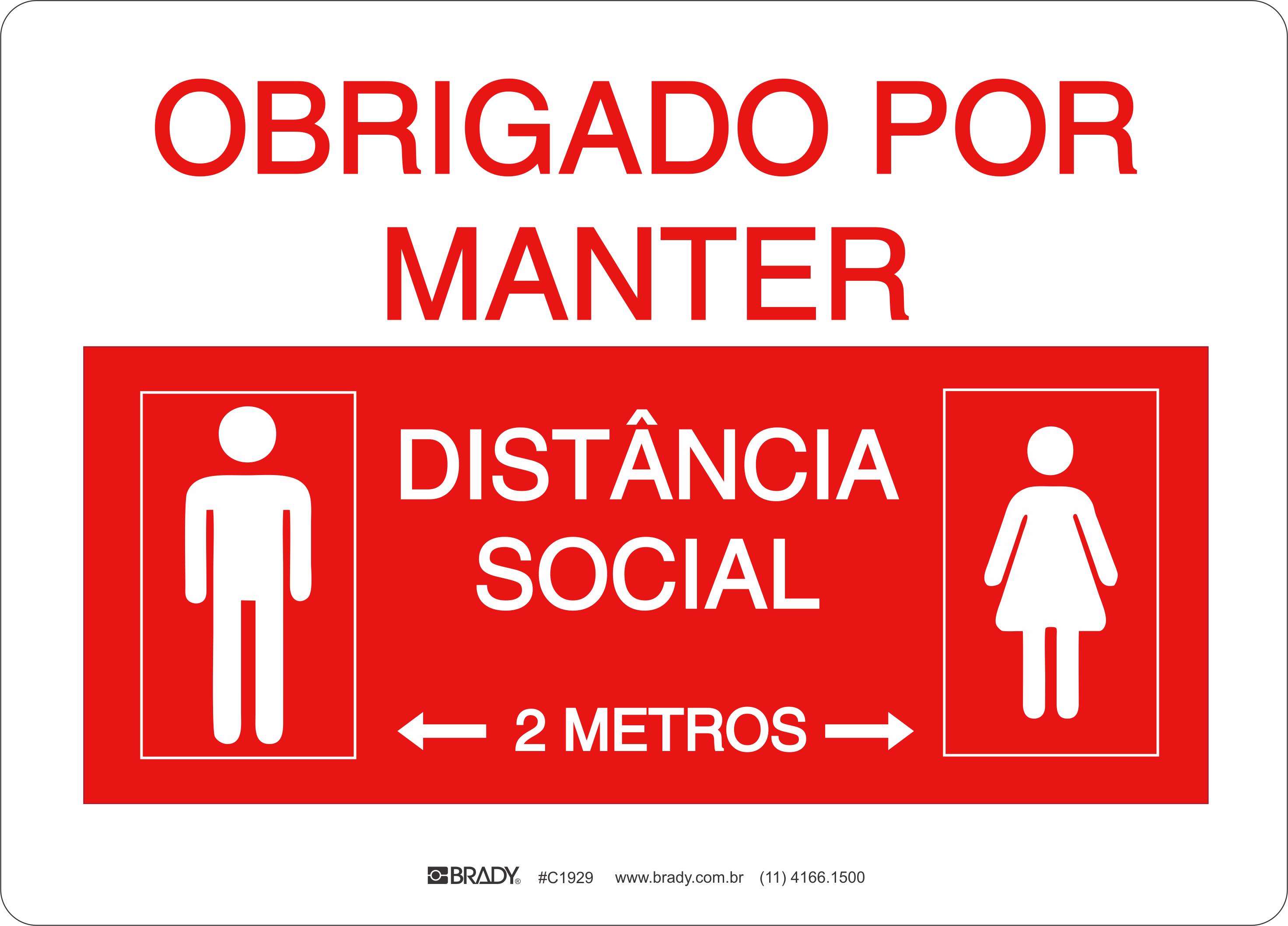 Placa Obrigado por Manter Distância Social