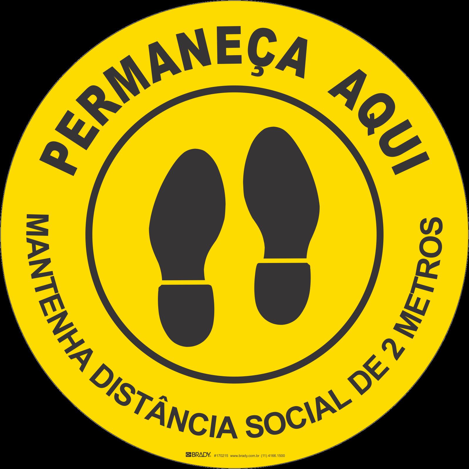 Adesivo de Chão Mantenha Distância Social Amarelo